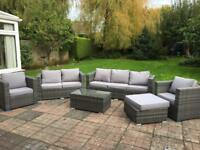 8 Seater Rattan Garden Furniture - Sofa Table Chairs - Patio Conservatory