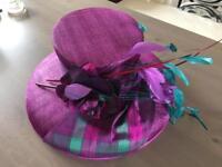 Joyce Young - Boxed wedding hat - purple - mother of bride / groom