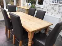 Antique Pine Dining Table and 6 Brown Dining Chairs