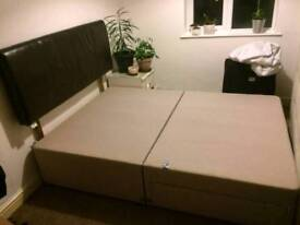Divan double bed + leather headboard. Great condition