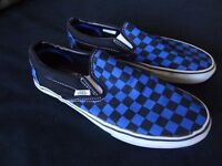 VANS unisex printed shoes, blue black check pattern, good condition, 6.5 UK adult size