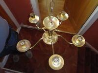2 x brass chandeliers