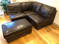 DFS brown leather modular sofa - multiple combinations