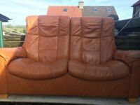 Ekornes Stressless tan leather retro recliner two seater