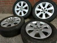 """16"""" GENUINE VW ALLOY WHEELS & DECENT TYRES,.5X112(VW,AUDI,GILF,CADDY)"""