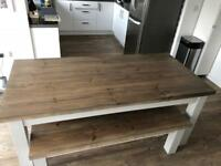 Rustic look solid wood dining table and matching bench