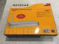 NETGEAR WGR614 (un-used / New) V6 54 Mbps 4-Port 10/100 Wireless-G Router with stand, power supply.