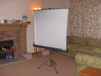 Projector screen. Bell and Howell