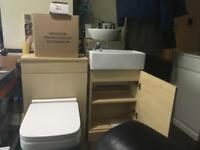 Beech bathroom set wc unit , toilet, seat, cistern, vanity unit , basin tap waste all new