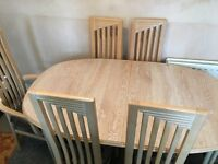 Lime Oaked Dining Table and Six(6)chairs