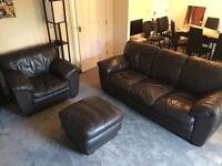 Leather Brown Sofa 3+1 and leather footrest