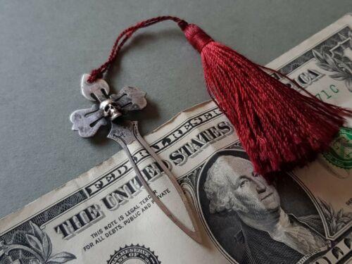 SUPERB ANTIQUE MEMENTO MORI skull SILVER book separator pointer paper cash clip