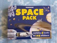 Usborne Space Pack 4 Books and 140 Stickers NEW