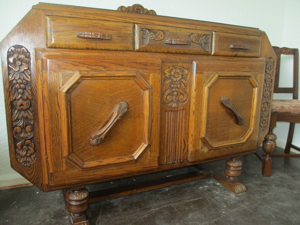 1940's solid oak sideboard, extending dining table and 4 ...