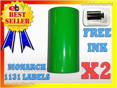 2 Sleeve Fluorescent Green Label For Monarch 1131 Pricing Gun 2 Sleeves16rolls