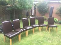 6 dining chairs brown leather and wood