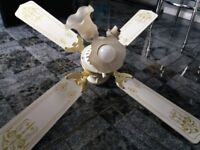 White and gold ceiling Fan with light, fixtures included