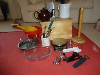 Salter scales, bread bin and various kitchen utensils.