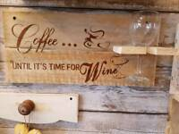 Kitchen wall wine holder