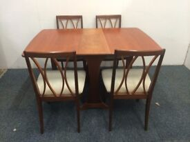 Retro Mid Century Teak G Plan Drop Leaf Table With Four Matching G Plan Chairs