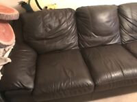 DFS Soft Brown Leather 3 Seater sofa vgc