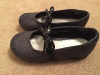 Girls black sparkly shoes
