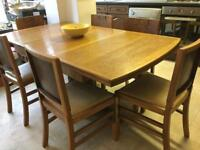 Solid wood, varnished farmhouse extendable dining table with 6 chairs