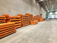 job lot 50 bays of dexion pallet racking 2.4 meters high as new( storage , industrial shelving )