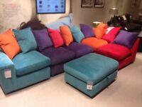 Corner sofa sofa bed foot stool storage velour velvet modern colourful