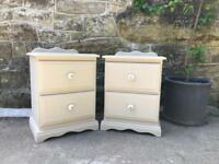 Solid pine Bedside tables in cream / Chest Of Drawers