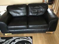 Black Leather 2 Seater Settee