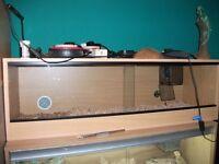 "Vivarium (as new) 4ft longx15""tallx15"" deep beech colour wood and sliding glass"
