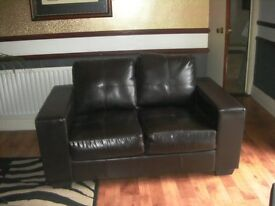 2 seater brown sofa in excellent condition