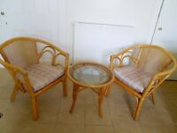 Cane Conservatory Chairs and Table
