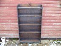 very old antique oak open bookcase, bookshelves, small antique vintage solid oak bookcase / shelves