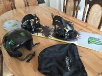 Snowboard and helmet