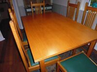 ART DECO STYLE SOLID PINE DINING TABLE AND 6 CHAIRS