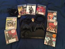 PS3 Slim 320Gb 2 controller & 8 games