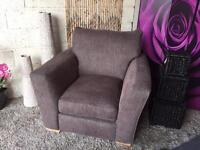 New Furniture Village Fabric Armchair in Earl Chocolate Brown Colour Fabric