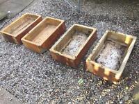 Antique 4 fire glazed trough planters