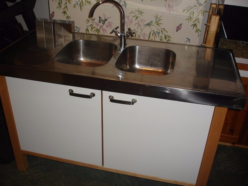IKEA Varde Freestanding Base Kitchen Unit With Double Sink and Tap ...