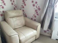 Leather two seater and single armchair, electronic recliners in all seats - Cream