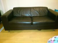 Real leather large 2 seater sofa