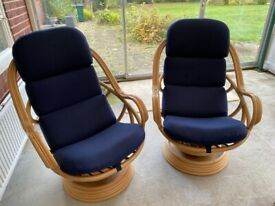2 Swivel Rocking Chairs Armchairs Conservatory