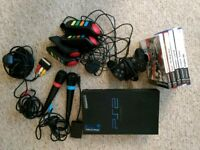 Playstation 2 (PS2) 5 game party bundle - Singstar, Buzz + controllers