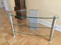 TV stand Width 79cm Depth 43cm Height 49cm. Strong.