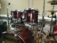 Late 90's 5 Piece Premier XPK Fusion drum Kit *****good condition;;;all tom have cases