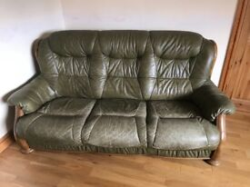 2 Leather Sofas and Foot Stools