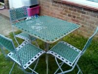 Lovely vintage garden table and 4 chairs ready friday