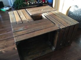 Unique reclaimed wooden crate coffee table